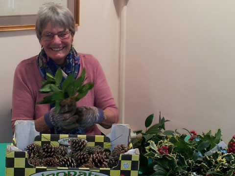 Mary making Christmas Wreaths 2013