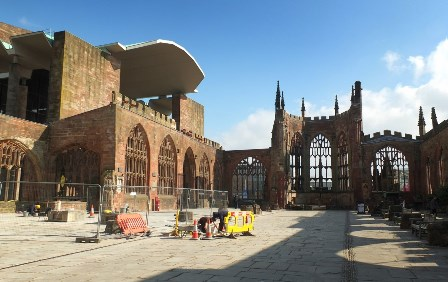Coventry Cathedral showing parts of the old Cathedral and restoration