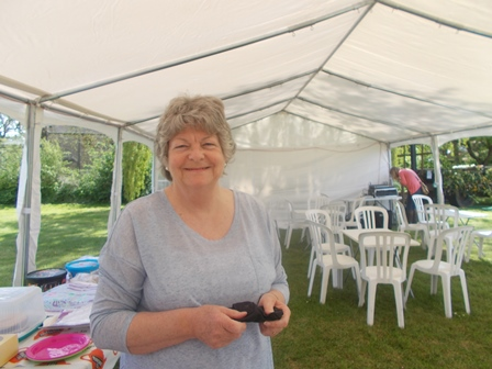 Julia, setting up the WI tea tent