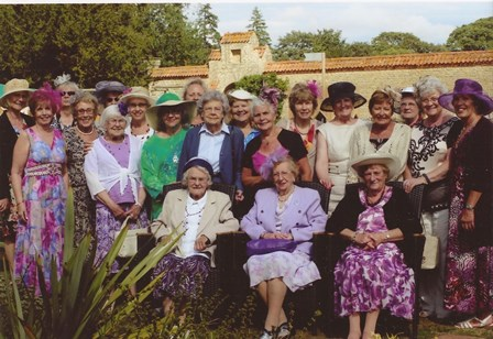 Bozeat WI celebrating Centenary at Castle Ashby Tearooms - with hats!