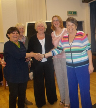 2015 Darts Champions Middleton Cheney WI with Sue Kendall County Chairman