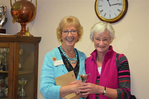 Shirley Corke presents Scrabble Trophy 2013 to Judith Pidd