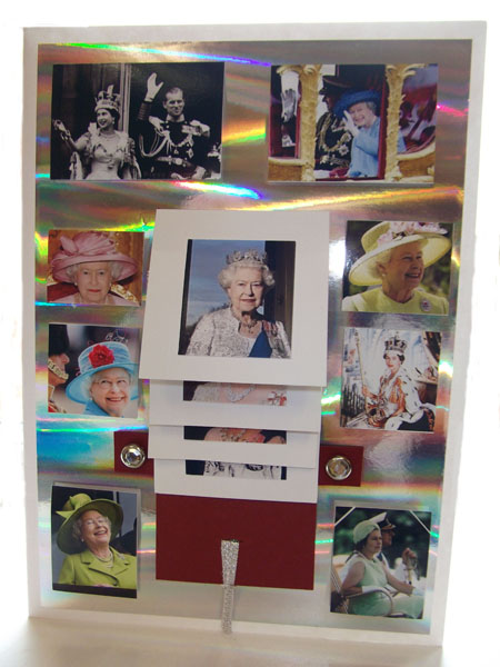 Hand made card made by Janette Hopkins, Yardley Hastings WI to ssend to Her Majesty the Queen on the occasion of her Diamond Jubilee