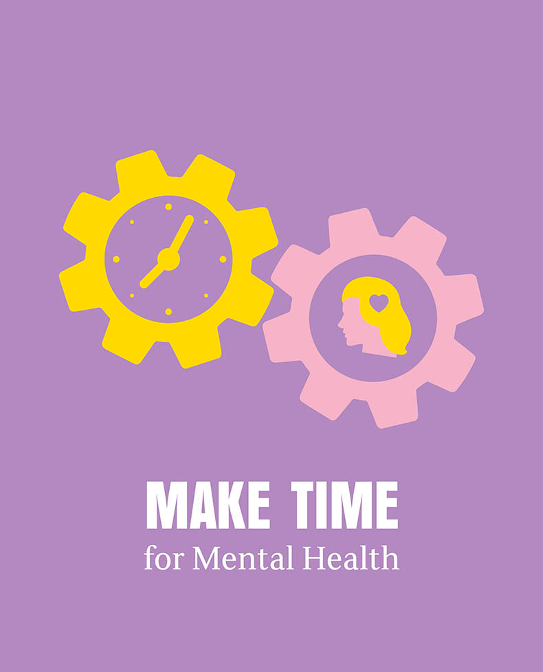 The Make Time for Mental Health logo - a purple background with two cogs - one is yellow with a clock face on the inside; the other is light pink with a blond woman's profile in the middle, there is a purple heart on her hair - underneath are the words 'MAKE TIME for Mental Health' written in white.