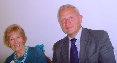 Shirley Corke, Chairman, with Speaker, Group Captain Tim Hewlett